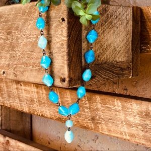 Turquoise chunky stone neckless